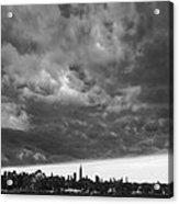 Ny Skyline Approaching Storm Acrylic Print