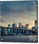 Nyc Skyline In The Sunset V1 Acrylic Print