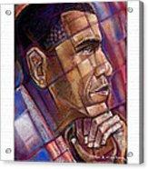 Obama. The Thinker Acrylic Print by Fred Makubuya