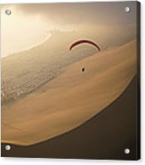 Ocean Gusts Keep A Paraglider Aloft Acrylic Print