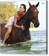 Ocean Horseback Rider Acrylic Print