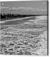 Oceanside In Black And White Acrylic Print