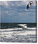 October Beach Kite Surfer Acrylic Print by Susanne Van Hulst