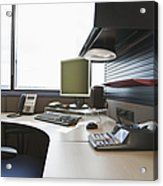 Office Work Station Acrylic Print by Jetta Productions, Inc