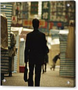 Office Worker With A Briefcase Walks Acrylic Print by Justin Guariglia