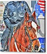 Officer On Brown Horse Acrylic Print