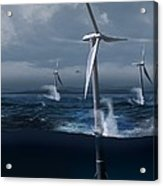 Offshore Wind Farm In A Storm, Artwork Acrylic Print