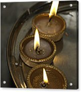 Oil Lamps Kept In A Plate As Part Of Diwali Celebrations Acrylic Print