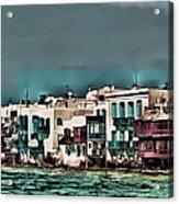 Oill Paint Effect Mykonos Greece Acrylic Print