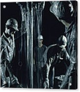 Oilmen Covered In Mud Pull Up A Drill Acrylic Print