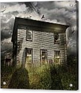 Old Ababdoned House With Flying Ghosts Acrylic Print by Sandra Cunningham