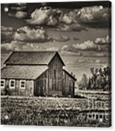 Old Barn After The Storm Black And White Acrylic Print