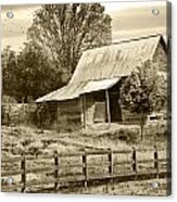 Old Barn Sepia Tint Acrylic Print