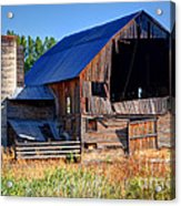 Old Barn With Concrete Grain Silo - Utah Acrylic Print