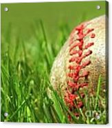 Old Baseball Glove On The Grass Acrylic Print