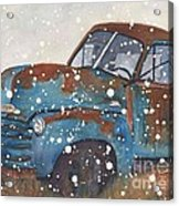 Old Blue Chevy Winter Storm Acrylic Print