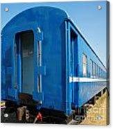 Old Blue Train Car Acrylic Print