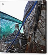 Old Boat And Flagons Acrylic Print