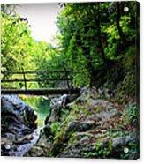 Old Bridge  In The Mountain Acrylic Print by Radoslav Nedelchev