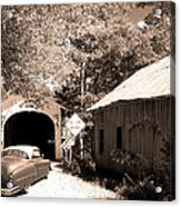 Old Car Older Barn Oldest Bridge Acrylic Print