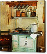 Old Cast Iron Cook Stove Acrylic Print by Carmen Del Valle