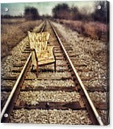 Old Chair On Railroad Tracks Acrylic Print