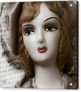 Old Doll On Old Letter Acrylic Print