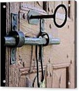 Old Door Of Wood With Its Worn Lock Acrylic Print by Bernard Jaubert