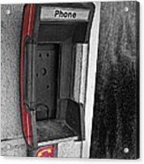 Old Empty Phone Booth Acrylic Print