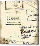 Old Entry And Exit Travel Stamps Acrylic Print