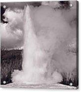 Old Faithful Yellowstone Bw Acrylic Print