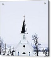 Old Fashioned Steeple Church In Winter Acrylic Print