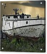 Old Fishing Boat On Shore With Storm Moving In Acrylic Print