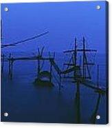Old Fishing Platform Over Water At Dusk Acrylic Print
