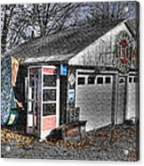 Old Gas Station Signs And A Soon To Be Outdated Phone Booth Acrylic Print