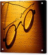Old Glasses On Braille  Acrylic Print