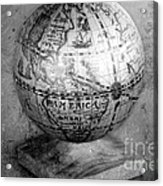 Old Globe In Black And White Acrylic Print