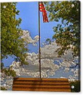 Old Glory Bench Acrylic Print by Bill Tiepelman