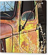 Old Green Truck Door Acrylic Print