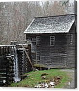Old Grist Mill With Snow Acrylic Print