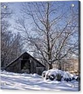 Old Hay Barn In Deep Snow Acrylic Print