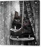 Old Ice Skates Hanging On Barn Wall Acrylic Print
