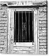 Old Jailhouse Door In Black And White Acrylic Print