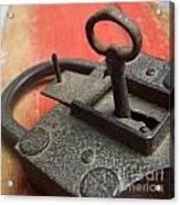 Old Key And Lock Acrylic Print