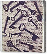 Old Keys On Sheet Music Acrylic Print
