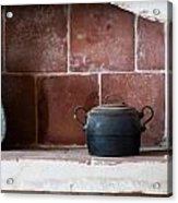 old kitchen - A part of a traditional kitchen with a vintage metal pot  Acrylic Print