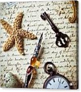 Old Letter With Pen And Starfish Acrylic Print