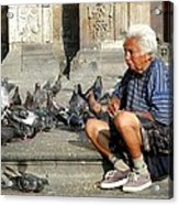 Old Man With Doves Acrylic Print