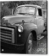 Old Nostalgic American Gmc Flatbed Truck . 7d9821 . Black And White Acrylic Print by Wingsdomain Art and Photography