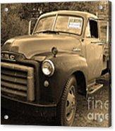 Old Nostalgic American Gmc Flatbed Truck . 7d9821 . Sepia Acrylic Print